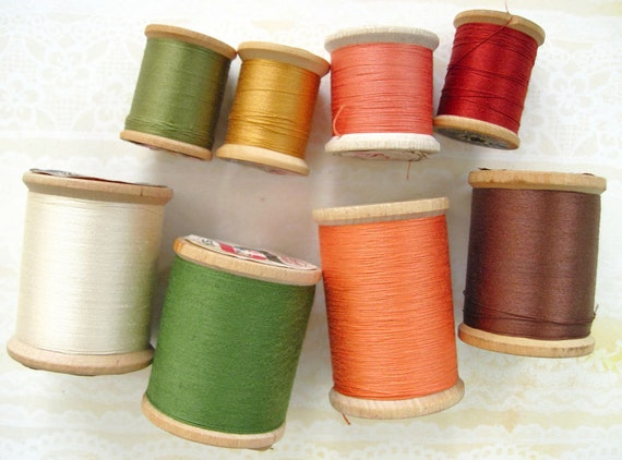 8 Wooden Spools of Cotton Thread in Autumn Colors