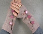 Reserved for Annali - fingerless mittens arm warmers  in copper rose recycled wool