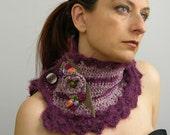 Capelet - neck collar - cowl - scarflette - neck warmer - crocheted - victorian - romantic - purple plum phlox blend - fuzzy mohair