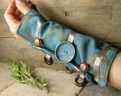 arm cuff  in teal repurposed cotton lace silk victorian romantic steampunk