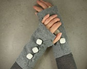 grey arm warmers fingerless mittens  wrists warmers arm cuffs fingerless gloves recycled wool eco friendly tbteam
