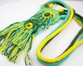 ON SALE 30% off - necklace crochet knit cotton ethnic inspired tribal boho african aqua olive green yellow women fashion