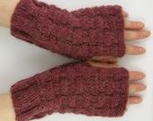Knit fingerless gloves unisex knit fingerless mittens wrists warmers gauntlets brown cinnamon fall autumn  alpaca