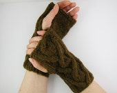 Fingerless gloves arm warmers fingerless mittens cable knitted olive brown unisex woodland rustic wrists warmers curationnation LAST PAIR