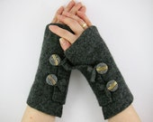 Grey arm warmers fingerless gloves fingerless mittens  wrists warmers arm cuffs recycled wool eco friendly curationnation