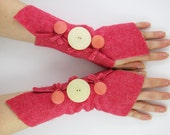 arm warmers fingerless mittens arm cuffs fingerless gloves salmon honeysuckle pink recycled wool eco friendly fall autumn curationnation