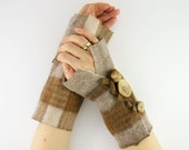 beige plaid arm warmers fingerless mittens fingerless gloves arm cuffs recycled wool cream fall eco friendly fashion tagt team teamt