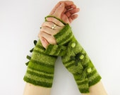 Fingerless mittens arm warmers fingerless gloves arm cuffs light olive green women eco friendly recycled wool curationnation