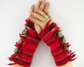 felted arm warmers fingerless mittens arm cuffs fingerless gloves red banded recycled wool eco friendly curationnation