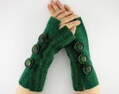 felted fingerless gloves wrists warmers eco friendly arm warmers fingerless mittens arm cuffs women teal green recycled wool