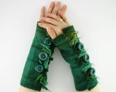 felted fingerless gloves wrists warmers eco friendly arm warmers fingerless mittens cuffs teal green recycled wool tagt team teamt