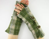 Fingerless mittens arm warmers fingerless gloves arm cuffs in moss green cream plaid eco friendly recycled wool curationnation