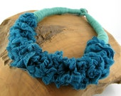 necklace scarf bib necklace women ruffled fashion skinny scarf scarflette ethnic textile necklace teal blue repurposed