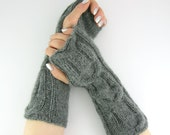 Cable knit long fingerless mittens knit fingerless gloves knit arm warmers grey wool alpaca mix