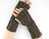 Brown fingerless gloves Cable knit arm warmers knit mittens dark brown coffee chocolate brown alpaca mix unisex men women