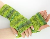 knit fingerless mittens fingerless gloves wrists warmers gauntlets merino wool women green lime olive curationnation