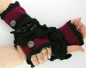 Knit fingerless gloves arm warmers fingerless mittens black wine red stripes lace ribbon buttons gothic steampunk curationnation