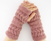 LAST PAIR - Cable knit fingerless gloves arm warmers fingerless mittens old rose chunky soft fall winter fashion tagt curationnation