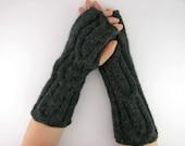 Cable knit long fingerless mittens knit fingerless gloves arm warmers charcoal dark grey wool alpaca mix women men unisex fashion