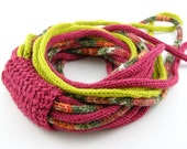 Scarf necklace loops infinity neck wrap neck warmer  tricot scarf  earthy rainbow chartreuse cyclamen pink olive tagt curationnation
