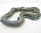 LAST ONE Scarf necklace loop scarf  infinity scarf  neck warmer knitted tricot powder blue sand grey therougett curationnation
