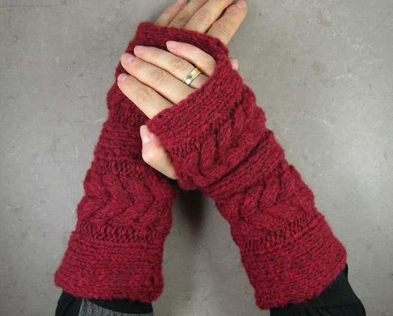 Cable knit fingerless gloves fingerless mittens arm warmers in bordeaux wine garnet deep red chunky tbteam therougett LAST PAIR