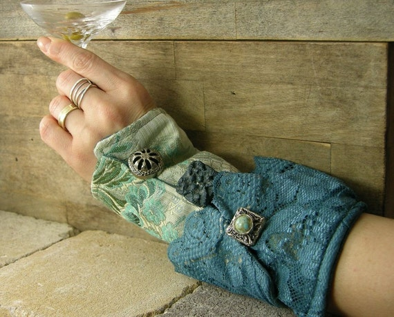 victorian romantic steampunk arm cuff  in blue repurposed cotton lace silk recycled eco friendly