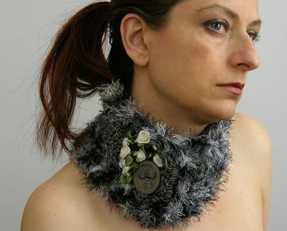 neck warmer collar cowl scarflette crocheted capelet in grey cotton and fuzzy black and white curationnation