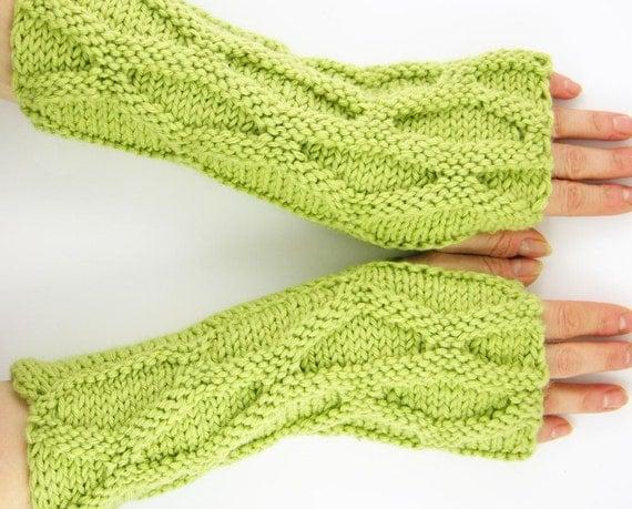 Fingerless mittens arm warmers knit fingerless gloves honeycomb motif  pistachio green men women unisex tagt curationnation