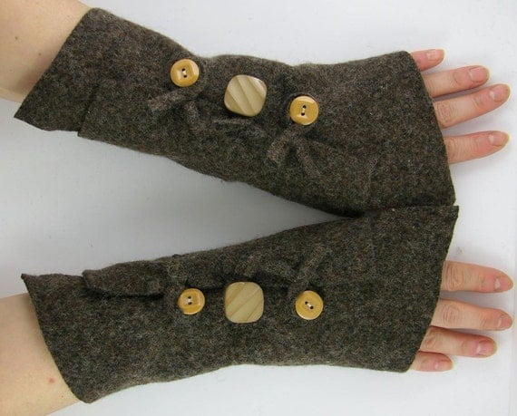 arm warmers fingerless mittens recycled wool wrists warmers arm cuffs fingerless gloves brown fall autumn eco friendly curationnation