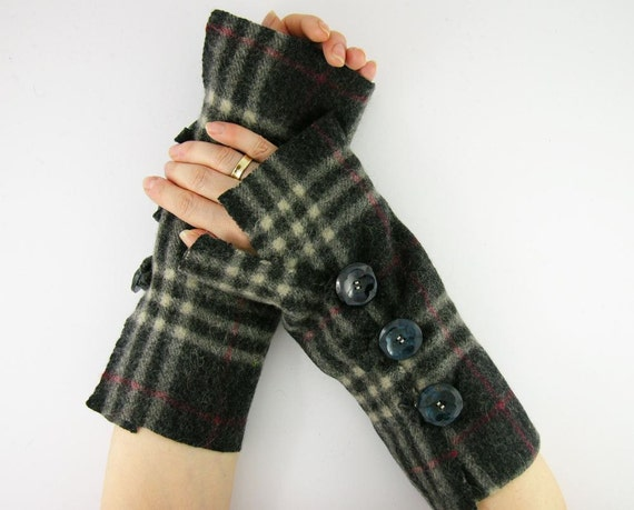 arm warmers fingerless mittens fingerless gloves arm cuffs recycled wool plaid black grey red eco friendly unisex curationnation