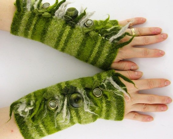 Fingerless mittens arm warmers fingerless gloves arm cuffs light olive green banded eco friendly recycled wool tagt team