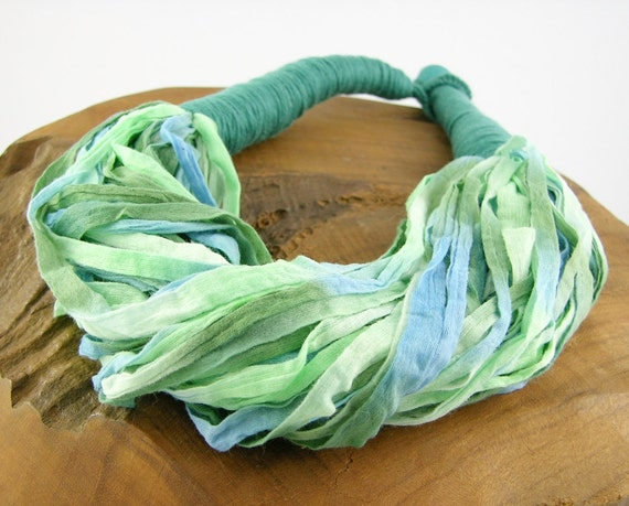 textile necklace necklace scarf skinny scarf scarflette ethnic in aqua olive and teal green repurposed textiles curationnation