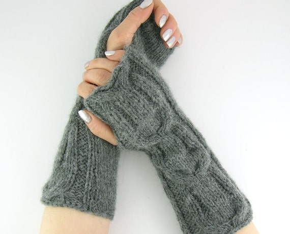 Knitting Pattern Long Fingerless Gloves : Cable knit long fingerless mittens knit fingerless gloves knit