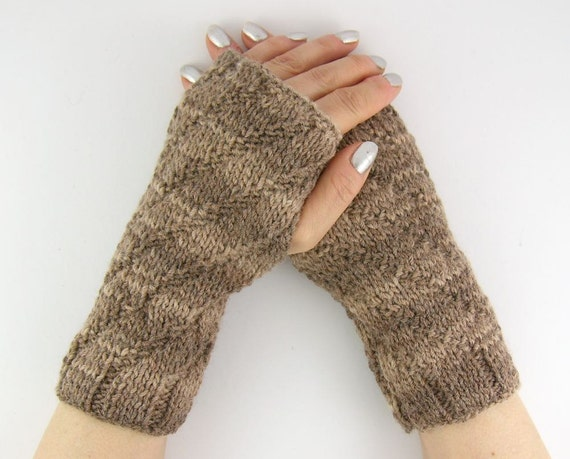 knit fingerless mittens knit fingerless gloves wrists warmers gauntlets merino wool neutral brown unisex for him for her curationnation