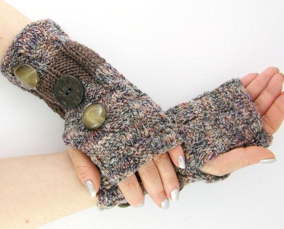 Knit fingerless gloves fingerless mittens arm warmers arm cuffs brown chestnut retro blend vintage buttons unisex men women curationnation