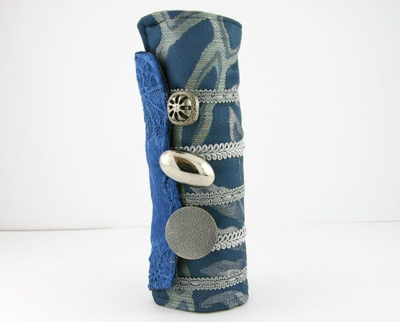 arm cuff  in blue repurposed cotton lace ooak victorian romantic steampunk tagt team teamt