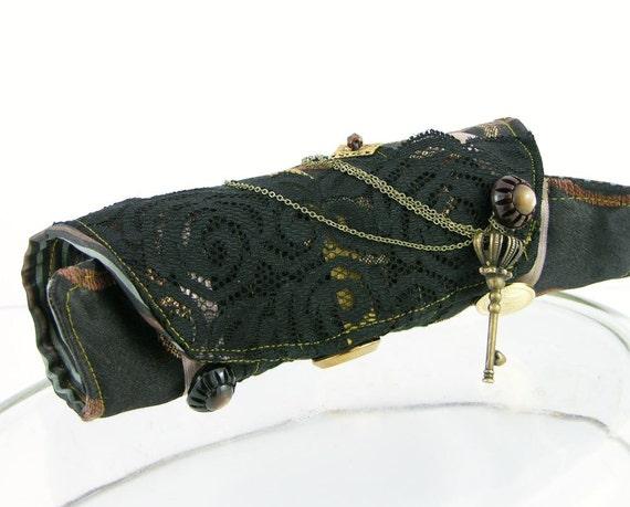 arm cuff eco friendly black bronze gold repurposed cotton ribbon chain skeleton key victorian romantic steampunk therougett curationnation