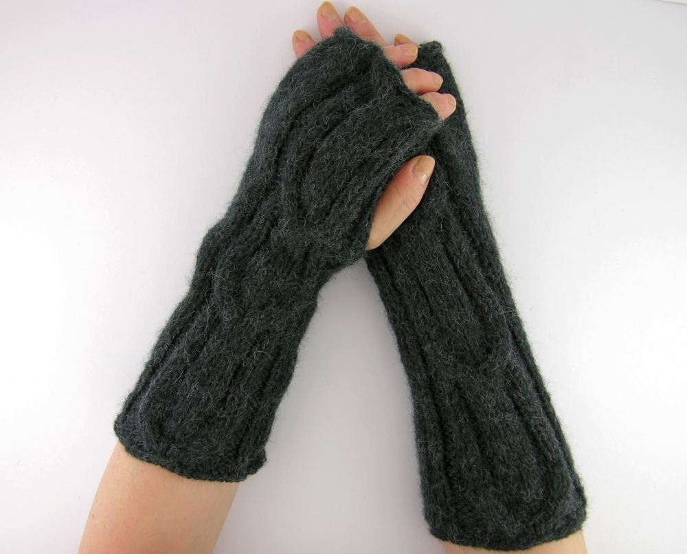 Knitting Pattern Long Fingerless Gloves : Cable knit long fingerless mittens knit fingerless gloves arm
