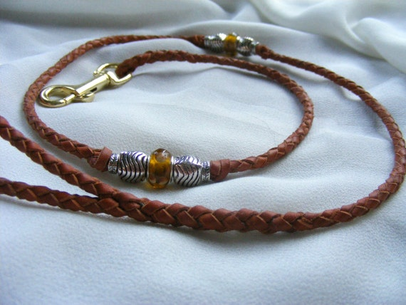 Braided Kangaroo Show dog lead - 33 inch tan leather, lampwork beads and silver pewter