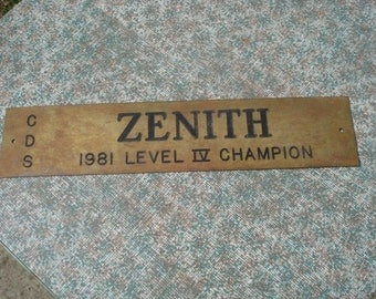Vintage Brass Plaque or Sign for Zenith