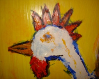 Hot Chick Outsider Art Painting on Cabinet Door Rongo SOLD