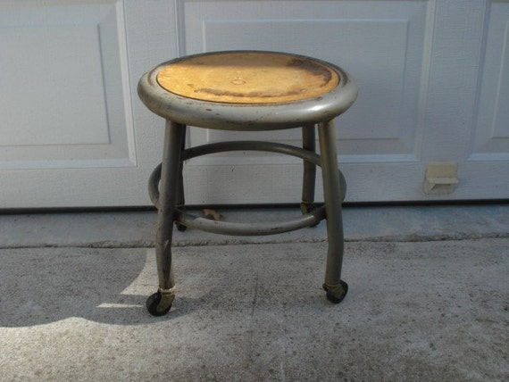 Vintage Industrial Chic Rolling Stool