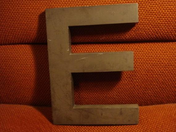 """Vintage Cast Aluminum 10"""" Sign Letter E-Brown"""