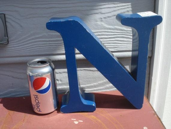 Vintage Aluminum Blue Reclaimed Store Sign Letter N