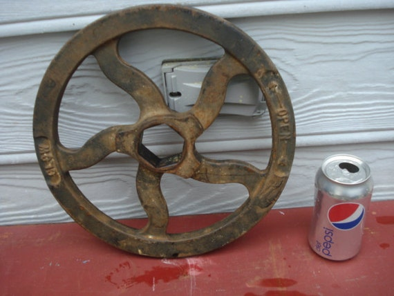 "Vintage Industrial 12"" Iron Valve Wheel"