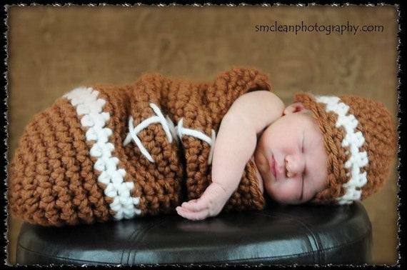Crochet Pattern Baby Hat Free : PDF FOOTBALL Baby Cocoon and Hat Set Crochet by RAKJpatterns