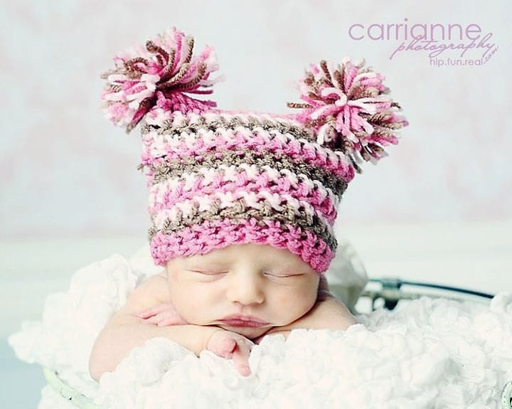 Crochet Newborn Pom Pom Hat Pattern : Double Pom Pom Hat Crochet PATTERN...ALL sizes by RAKJpatterns