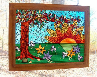 "Mosaic Fine Art - ""You Are My Sunshine"" an ode by Frog - Mosaic Panel Suncatcher"
