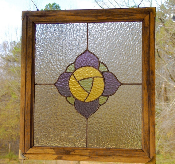 Stained Glass Panel - Victorian Inspired Poppy, Pastel